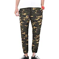juqilu Hombre 7/8 Work Overalls Camuflaje Cintura elástica Baggy Sports Combat Cargo Casual Jogger Pantalones Capri-Pants M-5XL