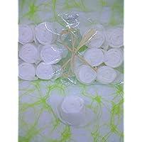 Servilletas Rose in white, set de 12, plegadas, para, bautizo, comunion, confirmacion, Dia de la Madre, Pasqua, cumpleanos, boda, regalo y todas las ocaciones especiales.