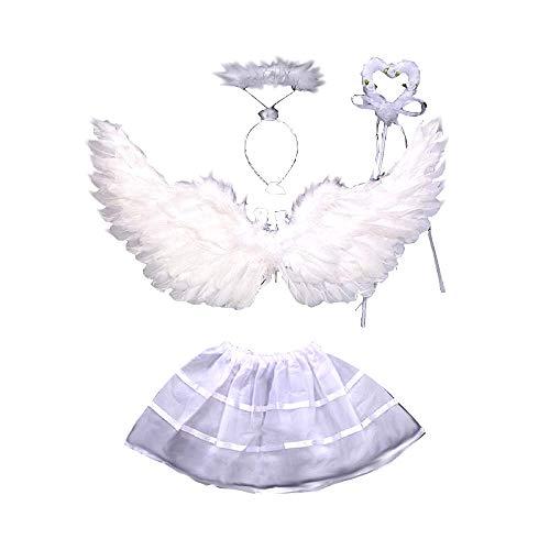 Kostüm - Engel - Mädchen - Mädchen - Sträucher - Stirnband - Tutu - Verkleidung - Fasching - Halloween - Cosplay - Farbe Weiß - 2-4 Jahre - Geschenkidee für Weihnachten und Geburtstag