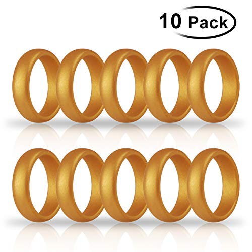 Hootracker 10PCS Silikon Ehering Silicone Wedding Ring Band for Men Women Fit for Sports Outdoors, Workout, Fitness, Athletes-17.3MM (Gold)