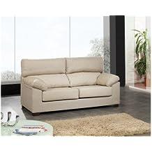 Sofá tres plazas con asientos deslizantes y respaldos reclinables. Tapizado en tela. Color crudo.