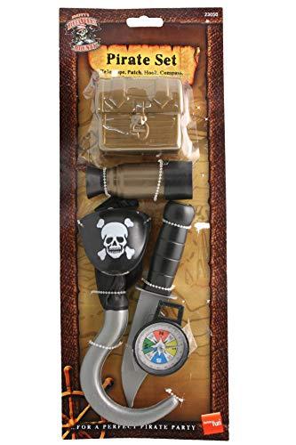 Smiffys Kinder Unisex Piraten Set, Kompass, Haken, Messer, Augenklappe, Teleskop und Truhe, One Size, Braun, 23050