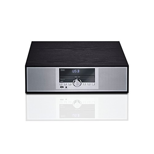 Mac Audio MMC 400 | Mikro-Anlage mit Bluetooth, CD, Sleep Timer, Alarm-Funktion, DAB+ und RDS-Tuner | Holzdekor und Aluminium Front - schwarz - 400 Bluetooth