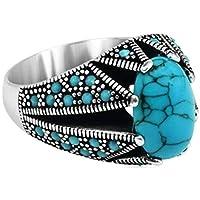 خاتم فضة رجالي,مقاس 6,مع الحجر الفيروز والزركون