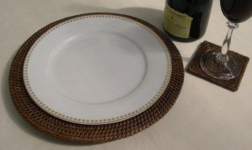 LOT DE 6 RONDS EN ROTIN CHARGEURS/SET DE TABLE/DESSOUS DE PLAT