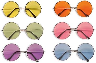 Gafas hippie John Lennon Hippie gafas redondas gafas de sol retro gafas retro años 60de los años setenta Fiesta Gafas Flower Power Fiesta temática accesorio Carnaval Disfraces Accesorio