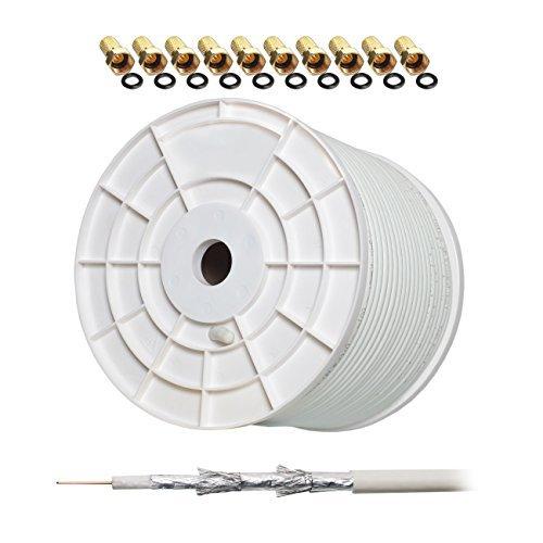 130dB 100m HB-Digital Class A+ REINES Kupfer SAT KOAXial Antennen Kabel UHD 4K inkl. 10x F-Stecker (vergoldet)