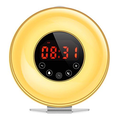 AMIR Wake-Up Light, Aktualisiert Sonnenaufgang Simulation Wecker mit Sonnenuntergang-und Snooze-Funktion, 7 Farben Atmosphäre-Lampe, 10 Helligkeits-Warmer Weiß-Nachttisch-Lampe mit 6 Naturgeräusche & FM-Radio. Nachttische Mit Lampen
