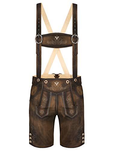 Almbock Lederhose Herren kurz | Trachten Lederhose kurz aus edlem Leder von Gr. 46-60 | Kurze Lederhose...