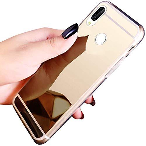Herbests Kompatibel mit Huawei P20 Lite Handyhüllen Spiegel Schutzhülle, Überzug Silikon Handyhülle Tasche Case Glänzend Kristall Spiegel Hülle Mirror Case Durchsichtig Handytasche,Gold
