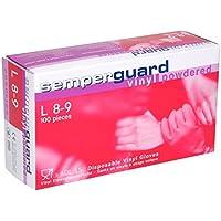 Semperguard Vinyl - Guantes de vinilo empolvados, caja con 100 unidades, talla L