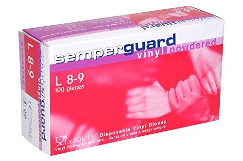 Semperguard Einmal-Handschuhe Vinyl gepudert, Box mit 100 Stück, Größe L