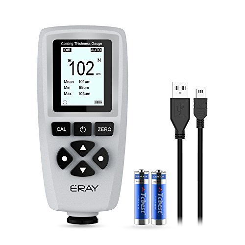 ERAY Car Coating Paint Thickness Gauge Meter Digital Handheld with Backlight LCD Display, Data Storage/Download, Tool Box and Batteries Included (Grey)