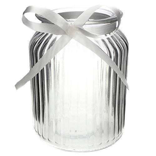 Annastore 12 x Windlichter aus Glas H 14,5 cm inkl.Dekoband oder Herzen, auch für große Teelichter ideal (12 x Gläser + weißem Dekoband)