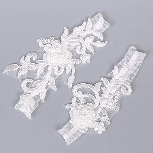 2 pz/set moda sposa giarrettiera pizzo perla festa nuziale giarrettiere anello da gamba sexy da donna accessori per bretelle per cintura, bianco