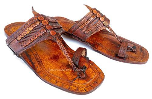 (Handgefertigte Luxus Männer Wasserbüffel Hippie 100% Ledersandalen Biblische Lederschuhe Jesus Sandalen Braune Fingerstyle Kolhapuri Sandalen (40 EU))