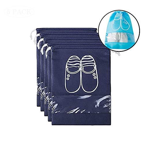 Aolvo Schuh Organizer Tasche, 5x Portable Kordelzug Aufbewahrungstasche mit Fenster Wasserdicht und staubdicht Travel Schuh Multicolor für Männer, Frauen, Kinder (blau, L) Size L,navy Blue