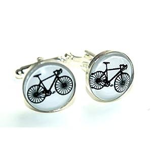 CHRISTMAS SALE – Fahrrad ~ Kleine silberfarbene Handmade Manschettenknöpfe, 15mm, ein besonderes handgefertigtes Geschenk für den Freund, Vater oder Ehemann