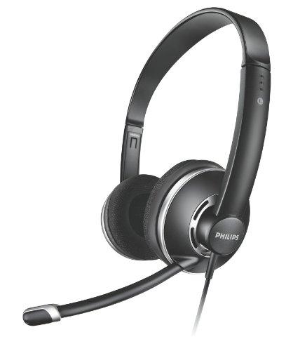 Philips SHM7410U PC-Kopfhörer (Lautstärkeregelung im Kabel und Geräuschunterdrückung Mikrofon) schwarz (Schnurloses Telefon Mit Headset-stecker)