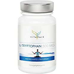 L-Tryptophan | 500mg pro Tagesdosis | 120 Kapseln | Vegan | Ohne Magnesiumstearat | Made in Germany