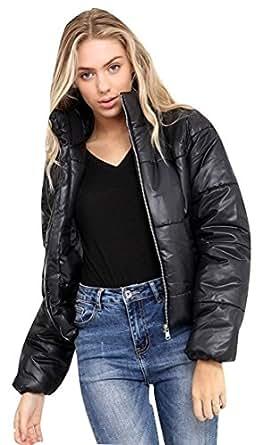 SheLikes Womens Cropped Puffer Coat Warm Fashion Top ...