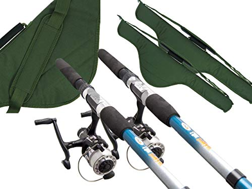 2x Fishing Travel Set Up 2.4m 8ft Rod And Reel With Holdall Bag Ideal For a Holiday kit