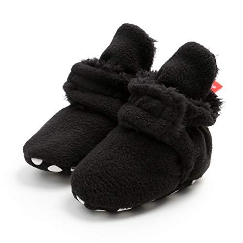 EDOTON Säugling Jungs Mädchen Warm Hausschuhe,Winter Weiß Süß Weich Baumwolle Unisex Rutsch-fest Baby Schuhe zum Weihnachten Zuerst Geburtstag Geschenk (6-12 Monate, R_ Schwarz) -