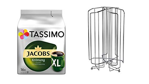 Tassimo Jacobs Krönung XL, Plus Kapselhalter fürTASSIMO Kapselständer, Kapselspender für Kapseln