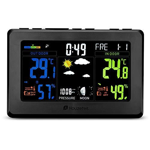 Funk Wetterstation, Houzetek Uhr mit Farbdisplay, Funkwetterstation mit Außensensor Digitale Wetterstationen Funk-Wettervorhersage-Uhr mit Innen und Außen Temperatur, Luftfeuchtigkeit