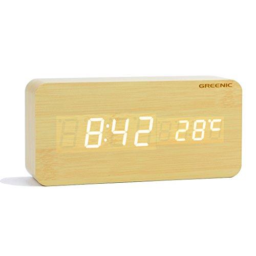GREENIC LED Digital Wecker hölzerne Reise Uhren mit Zeit/Datum/Temperatur/USB-Netz batteriebetriebene Schreibtisch-Uhr - Schreibtisch-uhr Temperatur Mit