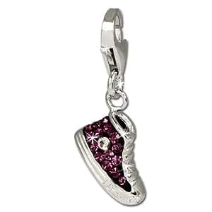 SilberDream scintillement bijoux - Charm sneaker lilas - Femme - Argent 925/1000 - tchèques cristaux Preciosa - scintillement Charms - GSC515V