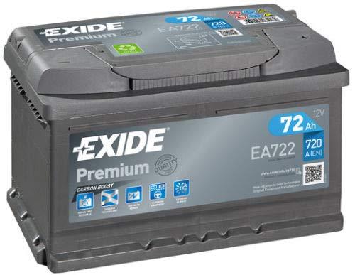 Exide Premium Autobatterie EA722, Typ 100/096, 12 V, 72 Ah, 720 A (bitte vor dem Kauf die Größe überprüfen)