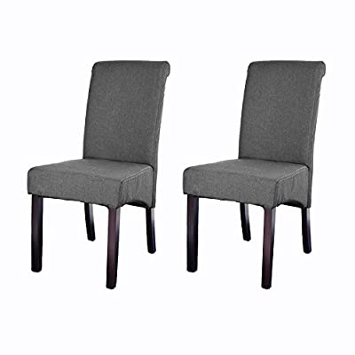 Pandamoto 2x New Linen Fabric Dining Chairs Roll Top Scroll High Back Cushioned Seat Dining Room Chairs Home Office Design Stool - inexpensive UK light shop.