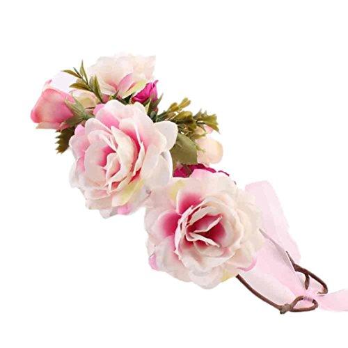 Stirnbänder Longra Mode Baby Kinder handgefertigte Rose Blumen Haarreif Haarband Kranz Kopfschmuck Band Zubehör Mädchen Kinder Stoff Stirnbänder (2-9 Jahre ) (B)