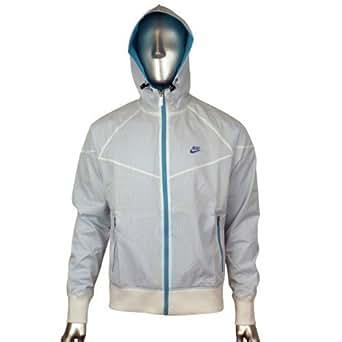 Mens Nike White Blue Retro Windrunner Windbreaker Hooded Running Jacket Coat XL