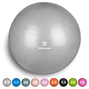 BODYMATE Gymnastikball mit GRATIS E-Book inkl. Luft-Pumpe Silber 65cm