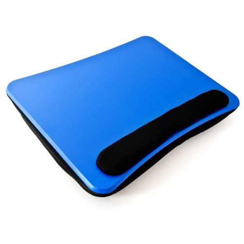 Relaxdays Laptopkissen, weiche Polsterung, tragbar, stabiler Lapdesk mit Handauflage u. Tragegriff,  Schosstablett, blau