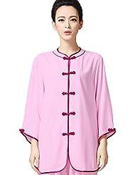 ZOOBOO uniformes de seda de las mujeres traje de Tai Chi Kung Fu Artes Marciales conjuntos, color Rosa oscuro, tamaño mediano