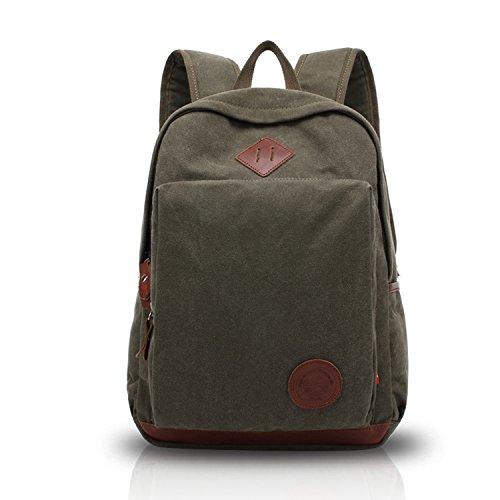 Fandare classic viaggio sacchetto di svago retro laptop casuale della di viaggio multifunzione tela zaino unisex army green