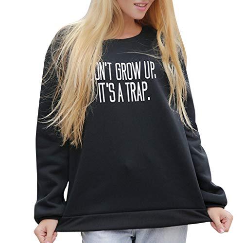 Tianwlio Damen Winter Langarmshirt Hoodie Pullover Mode Strickt Reizvolle Bluse Lange Hülse die Weg vom Schulter Beiläufigen T-Shirt Schwarz L