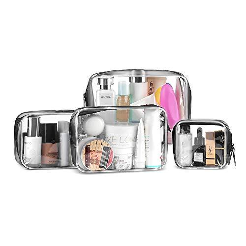 Kulturbeutel transparent 4 Stück, Flugzeug PVC Kosmetiktasche wasserdicht Make-up Tasche Kosmetikbeutel durchsichtig Reise Set Kulturtasche für Männer, Frauen, Kinder, Familie (Klein, Medium, Groß) -