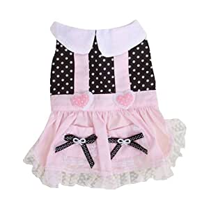 Pink and Black Pet Dog Dress Skirt Clothes Apparel w/ Dots--Bust Girth: Approx. 12 Inch (30.4 cm)
