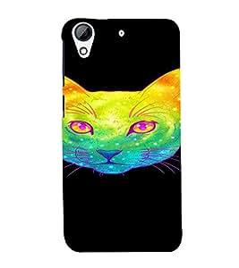 PrintVisa Cute Colorful Cat Design 3D Hard Polycarbonate Designer Back Case Cover for HTC Desire 728