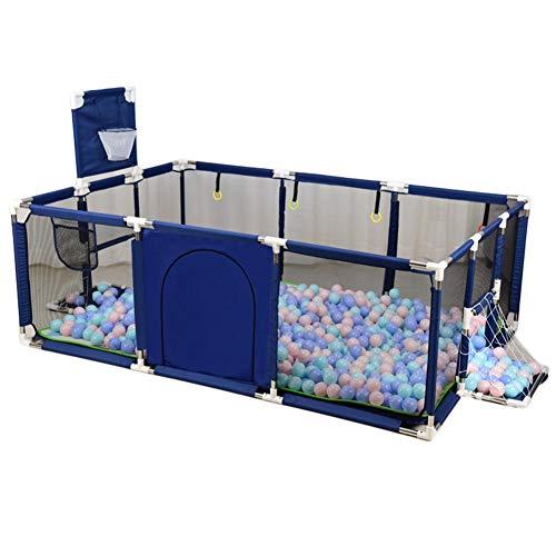 DNSJB Recinto di Sicurezza per Box per Neonati con Cesto per Lancio E Scatola da Calcio, Piscina per Bambini Ocean Center Pool (Colore : Blu, Dimensioni : 190×129×66cm)
