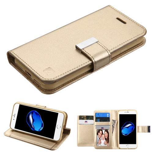 Schutzhülle + Eingabestift für Apple iPhone 7/7S/8MYBAT 3-lagige Geldbörse/Kupplung mit Extra Kartenfächer PU Leder MyJacket Wallet-Gold/Gold -