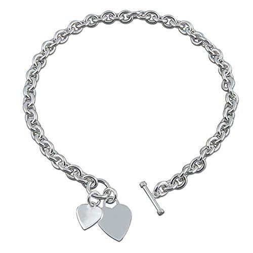 Doppelte Herz Charme Sterling Silber Kette - Schwere (50 Gramm) Klobig Silber Halskette mit Herz-Tag - 16