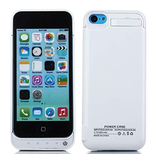 Cover batteria per iphone se 5se 5 5s,4200mah ricaricabile custodia batteria per iphone se 5se 5 5s,esterna protettiva power bank case portatile backup caricabatterie bianco