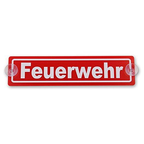wall-art-design Saugnapfschild Schild Feuerwehr Acrylschild rot 3mm, ca.20x5 cm für Scheibeninnenbefestigung -