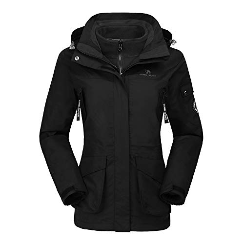 CAMEL CROWN Damen Ski 3-in-1-Jacke 2 Stück Outdoor Wasserdicht Winddicht Fleece Innen Kapuzenmantel, Schwarz, XL