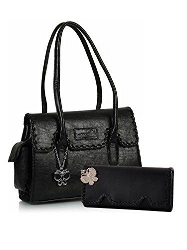 Butterflies Women's Handbag and Wallet Combos' (Black) (BNS WB0237)